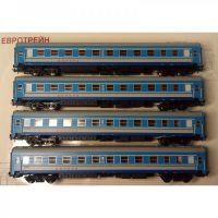 """0213  Евротрейн """"Аврора"""" набор 4-хосных пассажирских вагонов 4 шт."""