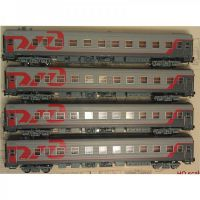0214 Евротрейн РЖД набор 4-хосных пассажирских вагонов 4 шт.